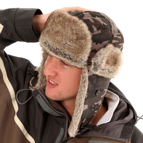 Camo trapper hat. FUR TRIM